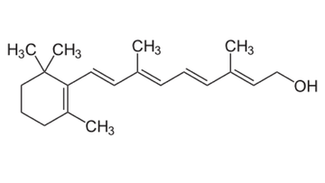 Structure of all-trans vitamin A.