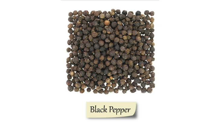 Herbs and spices showing Black Pepper.
