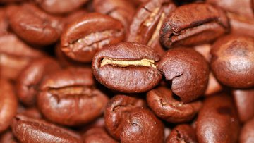 Roasted coffee beans.