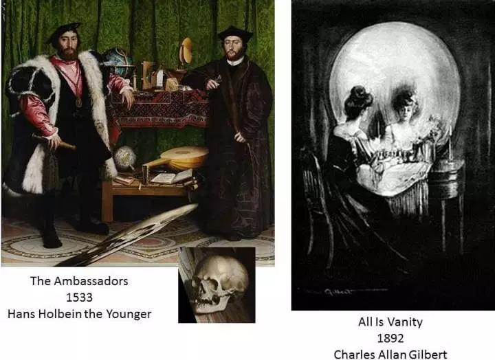 skulls in art Holbein Gilbert